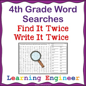 4th Grade Word Searches, Word Puzzles (Spelling Practice)