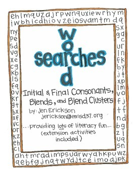 Word Searches:  Initial and Final Sounds, Consonant Blends