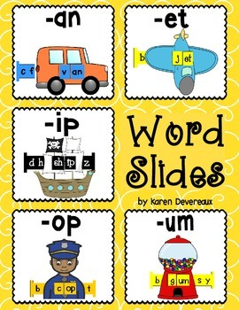 Word Slides Set 2: an, et, ip, op, um  (Word Families Activity)