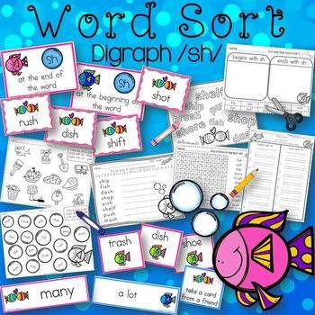Word Sort Beginning & Ending Digraph /sh/ Story Fun with Fish