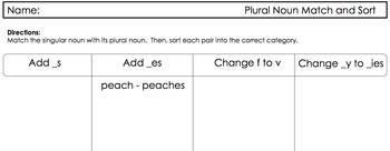 Word Sort Exploring Plural Endings