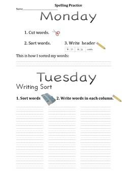 Words Their Way Spelling Practice -Freebie