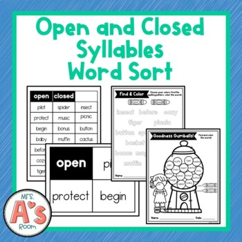 open and closed syllable worksheets - Worksheets for Kids ...