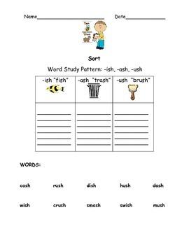 """Word Sort """"-ish, -ash, -ush"""""""