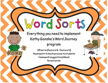 Word Sorts for Word Journeys with powerpoint and letters F