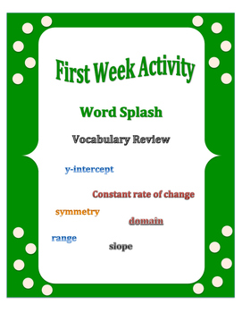 First Week of School: Word Splash Vocabulary Activity