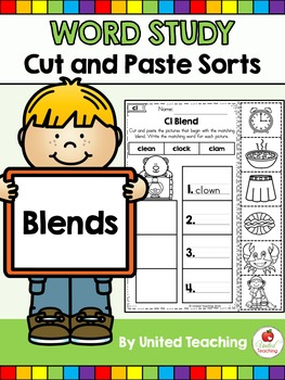 Word Study Cut and Paste Sorts Blend Words