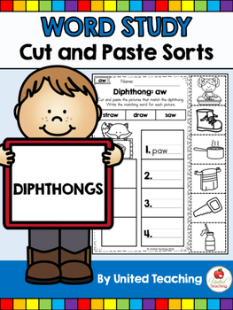 Word Study Cut and Paste Sorts Diphthongs