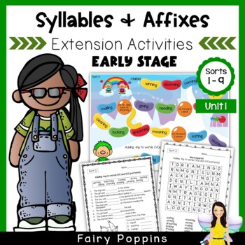 Word Study Games & Worksheets - Syllables and Affixes (Unit 1)