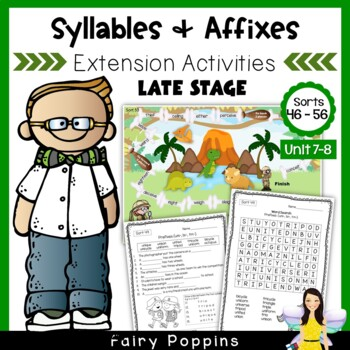 Word Study Games & Worksheets - Syllables and Affixes (Units 7-8)