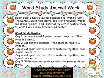 """Word Study Journal Work for """"The ____. &  The ___ can ___."""""""