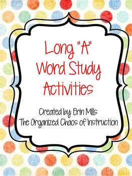 "Word Families-Long ""A"" Activities"