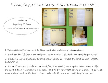 Word Study Practice Activity Look, Say, Cover, Write, Check