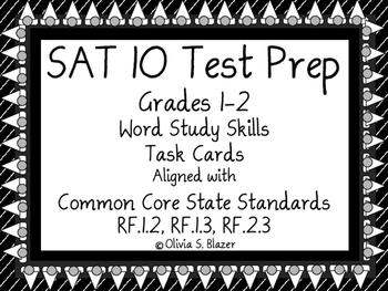 Word Study Skills Task Cards - Grades 1 & 2 - SAT-10 Test Prep
