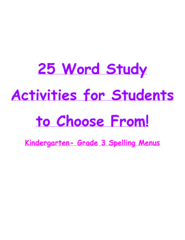 Word Study, Spelling Activity Menu
