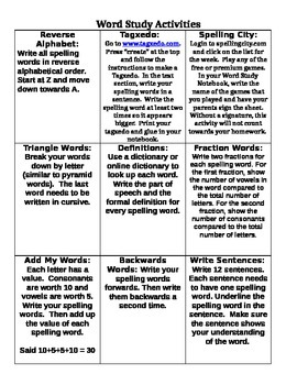 Word Study/Spelling Activity Frame Part 2