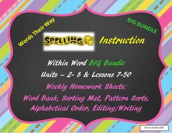 Word Their Way Homework Sheets - BIG Bundle - Units 2-10 &