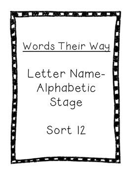 Word Their Way Letter Name Alphabetic sort 12