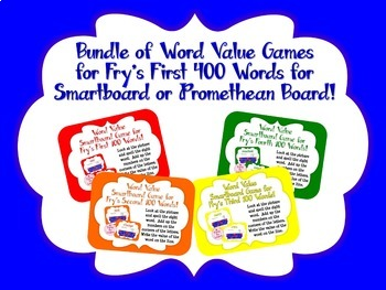 Word Value Game BUNDLE for Fry's First 400 Words - Smartbo