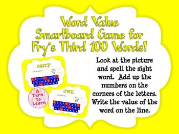 Word Value Game for Fry's 3rd 100 Words - Smartboard or Pr