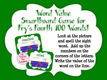 Word Value Game for Fry's 4th 100 Words - Smartboard or Pr