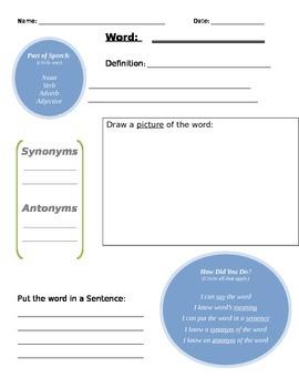 Word Vocabulary Worksheet
