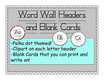 Polka Dot Themed Word Wall Labels