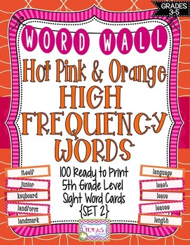 Word Wall - 5th Grade High Frequency Words: Pink and Orang