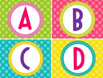 Word Wall Alphabet-Bright Polka Dots