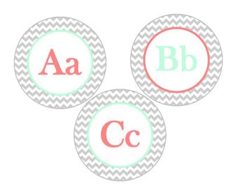 Word Wall, Alphabet Bundle (Chevron Grey, Mint, Coral)