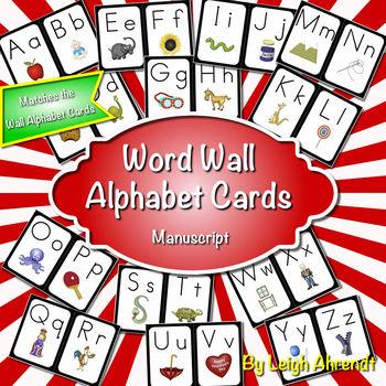 Word Wall Alphabet Cards (Black Frame) (Manuscript Font)