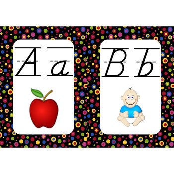Word Wall Alphabet Cards (Primary Dots on Black) (Lined D'