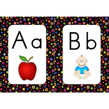 Word Wall Alphabet Cards (Primary Dots on Black) (Manuscri