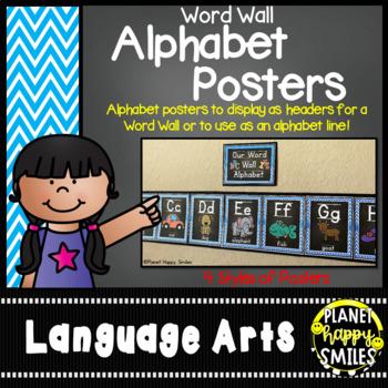 Word Wall Alphabet Cards (large) Aqua and Chalkboard Theme