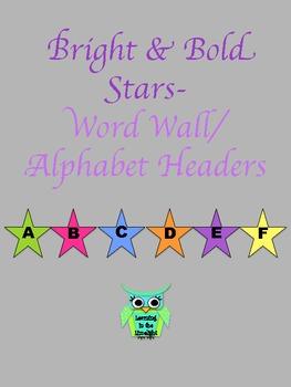 Word Wall Alphabet Header Banner- Bright & Bold Stars