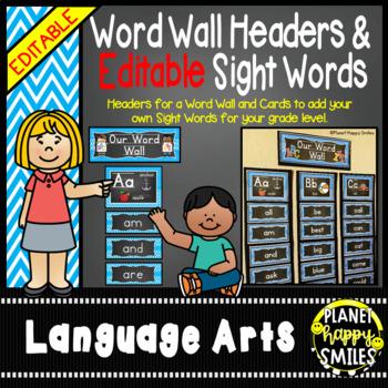 Word Wall Alphabet Headers & EDITABLE SW Cards, Aqua and C