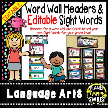 Word Wall Alphabet Headers & EDITABLE SW Cards, Monster Theme