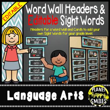Word Wall Alphabet Headers & EDITABLE SW Cards, Teal and C
