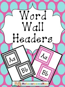 Word Wall Alphabet Headers -Pink Chevron and Black Chevron
