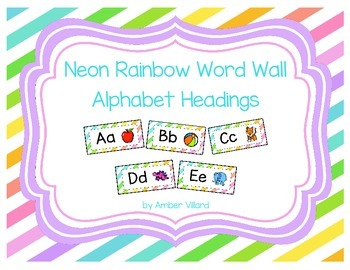Word Wall Alphabet Headings with Pictures {Neon Rainbow}