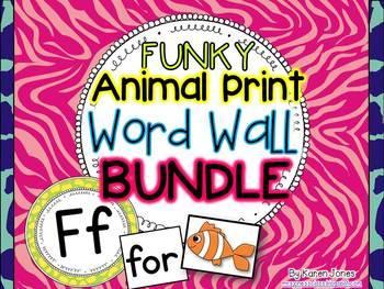 Word Wall BUNDLE {Funky Animal Print} with Headers, Pictur
