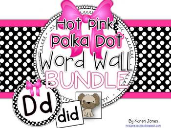 Word Wall BUNDLE {Hot Pink & Polka Dot} with Headers, Pict