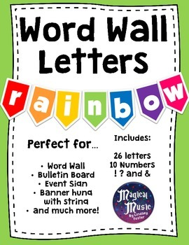 Word Wall Banner Letters - {Rainbow Colors!}