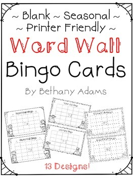 Word Wall Bingo - Blank - Printer Friendly - Seasonal - Pr