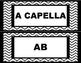 Music Word Wall - Black & White Chevrons
