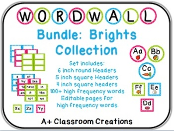 Word Wall Bundle:  Brights with labels, headers, 100+ word