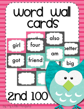 Word Wall Cards 2nd 100 Instant Sight Words