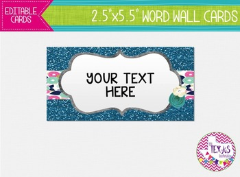 Word Wall Cards - Aqua and Glitter Floral {EDITABLE}