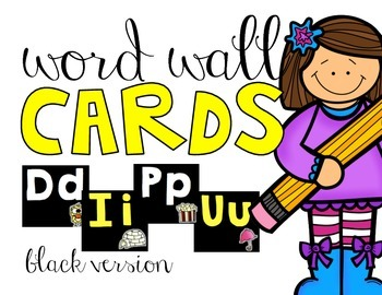 Word Wall Cards   Black Version