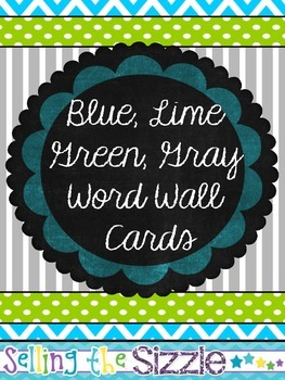 Word Wall Cards- Blue Lime Green Gray Themed